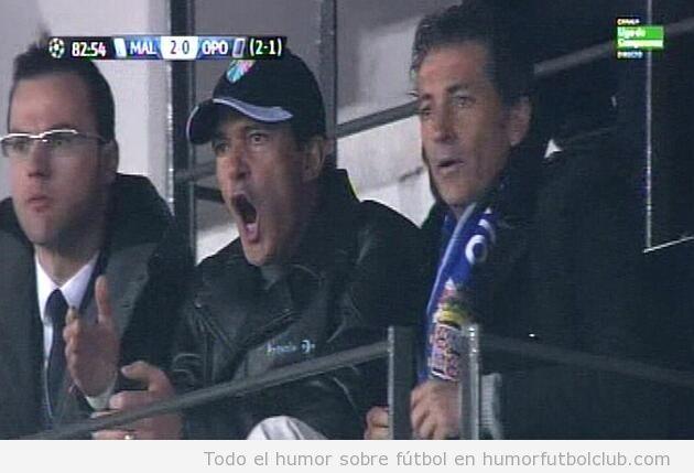 Antonio Banderas emocionado en el encuentro del Málaga en Champions