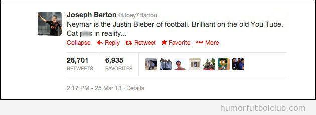 Tweet de Barton en el que llama Justin Bieber del fútbol a Neymar