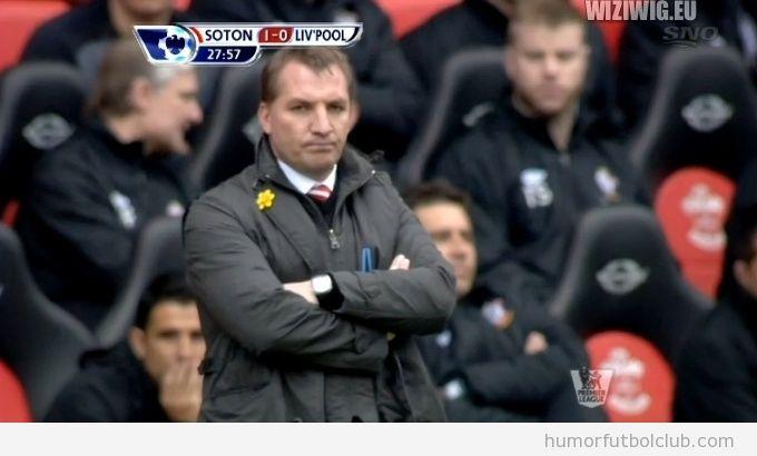 El entrenador Brendan Rogers, con cara de grumpy cat