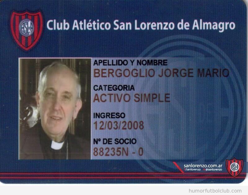 Carnet de socio de San Lorenzo del Papa Francisco
