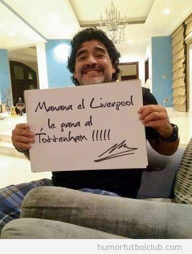 Foto curiosa de Maradona predice la victoria del Liverpool Vs Tottenham