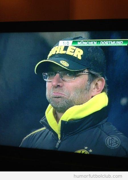 Imagen graciosa de la reaccion de Jurgen Klopp ante gol Robben