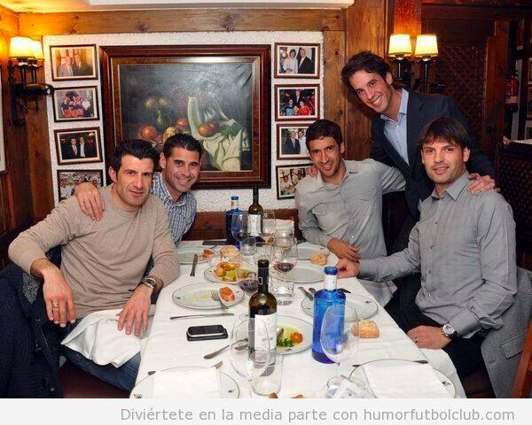 Los Galácticos Figo, Hierro, Raul y Morientes se reunen en Madrid para comer juntos