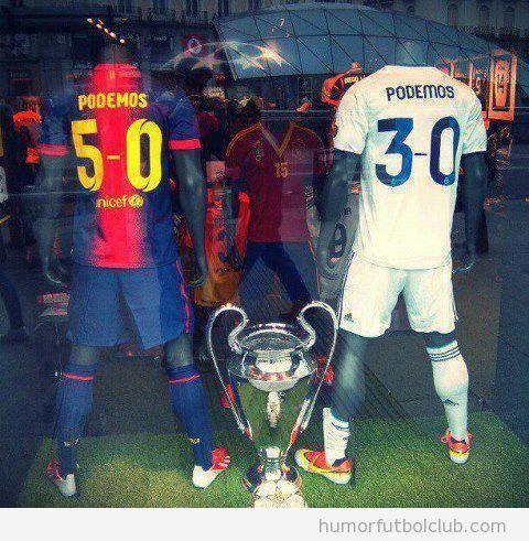 Camiseta del BArça y del Madrid, Podemos Champions League