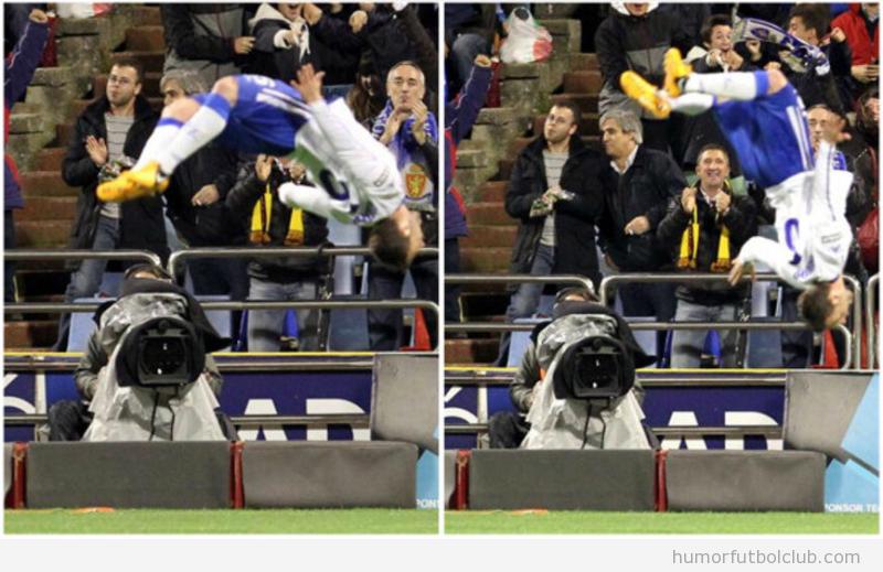 Foto de la voltereta de Rodri al celebrar gol ante Madrid