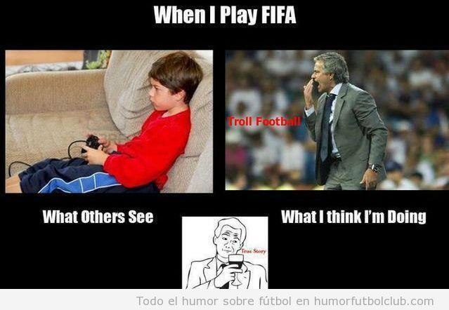 Meme gracioso, humor fútbol, cómo me siento cuando juego al FIFA 13