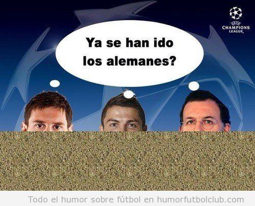 Fotomontaje gracioso, Messi, Cristiano y Rajoy escondidos