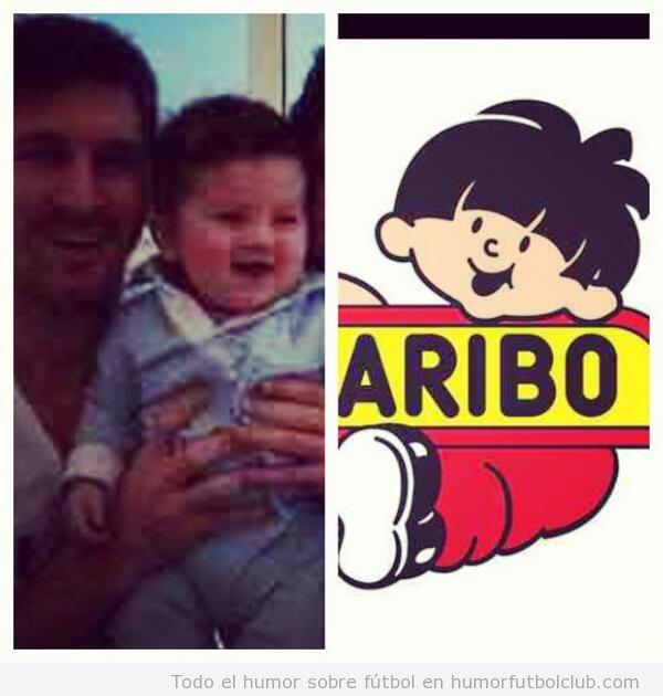 Parecido razonable de Thiago Messi con muñeco de Haribo