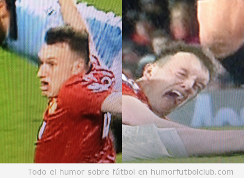 Fotos graciosas de Phil Jones en el Man City vs Man United