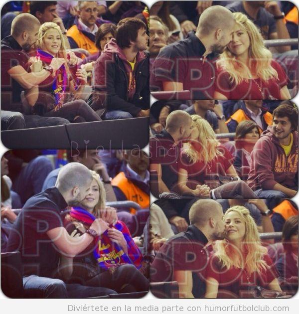 Piqué y Shakira dándose besos en el partido de basket Barça Panathinaikos