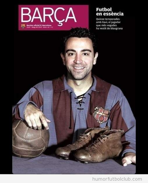 Xavi con una camiseta muy retro del Barça