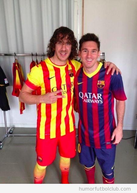 Puyol y Messi posan con la nueva camiseta del Barça, temporada 2013-2014