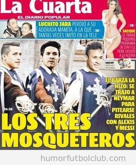 Portada de un periódico chileno, Alexis, Messi y Neymar, los tres mosqueteros