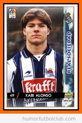 Cromo de Xabi Alonso de joven con la Real Sociedad