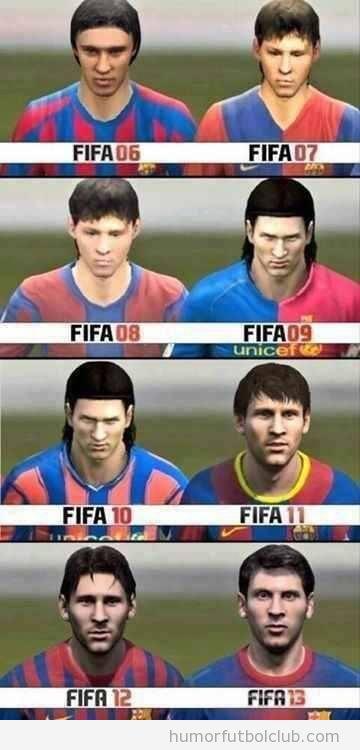 Evolución del físico de Messi en el videojuego FIFA