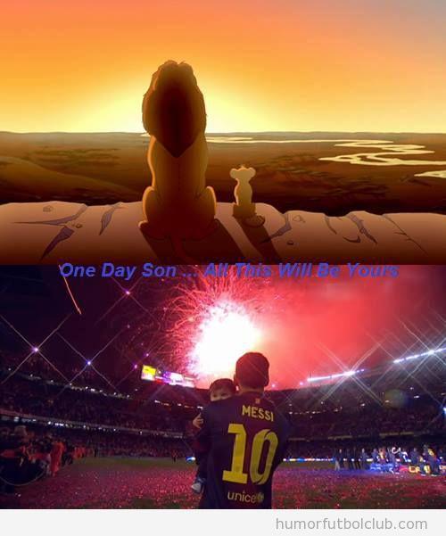 Escena del Rey León con Simba, igual que Messi con Thiago en el Camp Nou