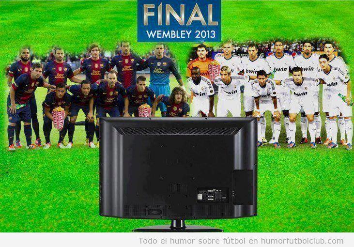 Barça y Rela Madrid viendo la final de la Champions en la tele