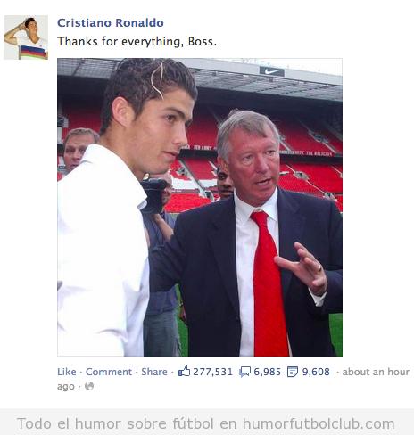 Foto de Cristiano Ronaldo de joven con Sir Alex Ferguson