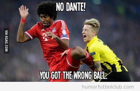 Meme gracioso, patada de Dante en la final de la Champions League