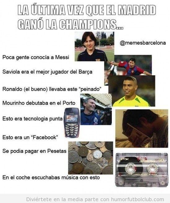 Meme gracioso fútbol, la última vez que el Real Madrid ganó la Champions