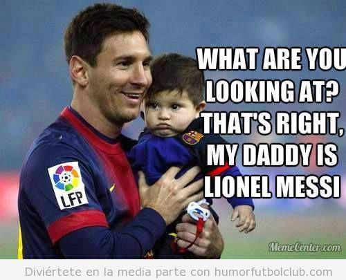 Meme gracioso, hijo de Messi, Thiago en la celebración Liga