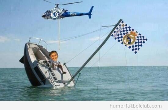 Meme divertido, el barco del Madrid se hunde y el helicóptero del Chelsea lo rescata