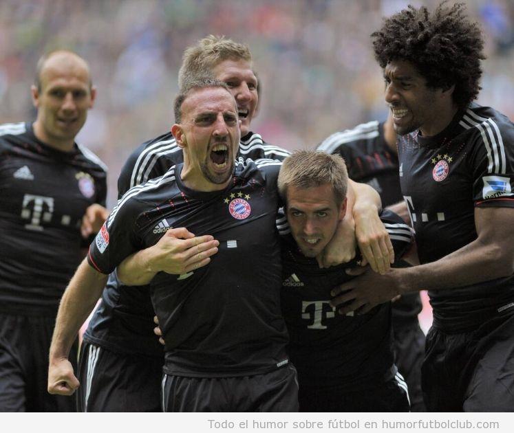 Imagen graciosa de Ribéry, rugiendo como un león