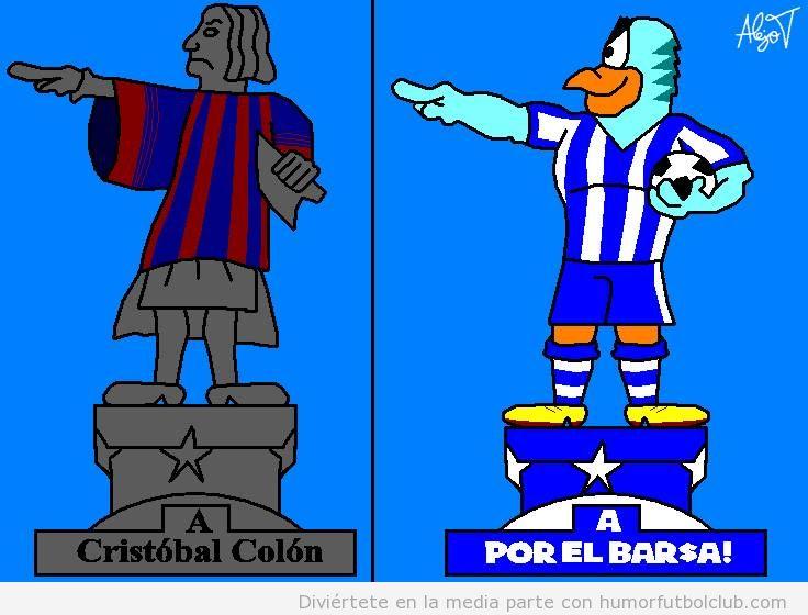 Dibujo gracioso de un perico señalando a America, reacción en contra de la camiseta de Barça de colón