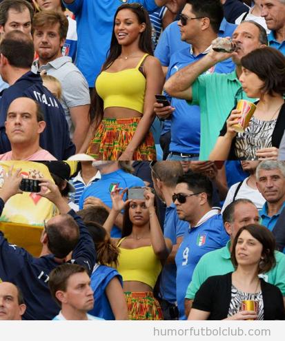 Fanny Neguesha, novia de Balotelli, en la Copa confederaciones de Brasil