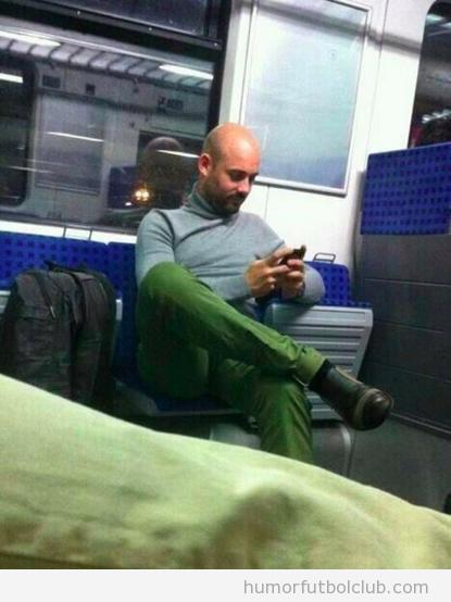 Pep Guardiola en el metro de Munich