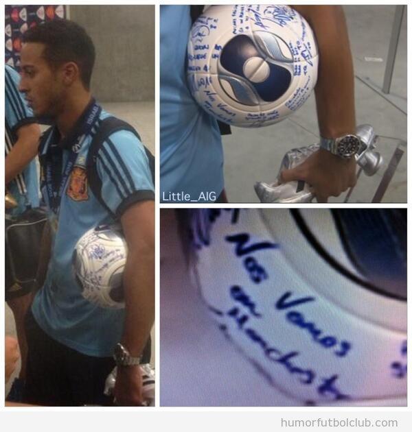 Balón firmado de la selección española  Thiago aclántara, nos vemos en Manchester