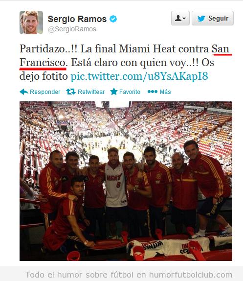 Tweet fail de Sergio Ramos en la NBa, Miamo Heats vs San Antonio
