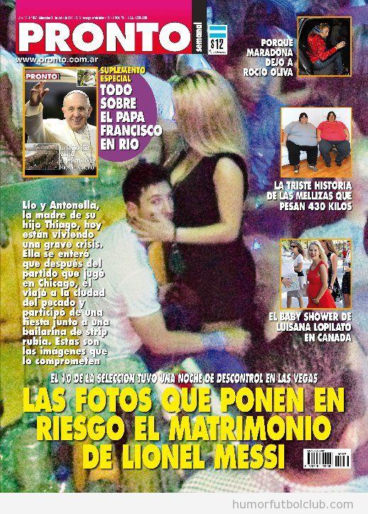 Portada de Pronto Argentina donde se ve a Messi con una rubia en Las Vegas