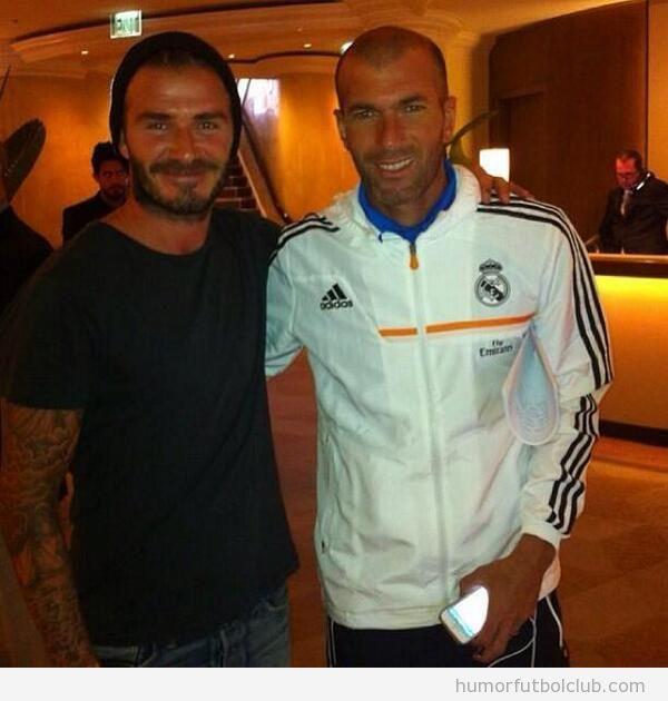 Foto de Beckham y Zidane en la gira por USA