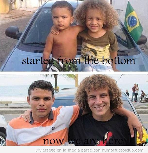 Foto bonita de David Luiz y Silva, amigos desde niños