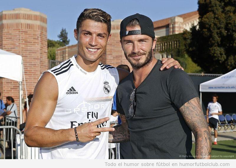 Foto de Cristiano Ronaldo y Beckham en la gira del Madrid por USA