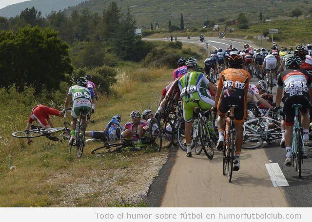 Foto graciosa, fail caída del pelotón del Tour de Francia