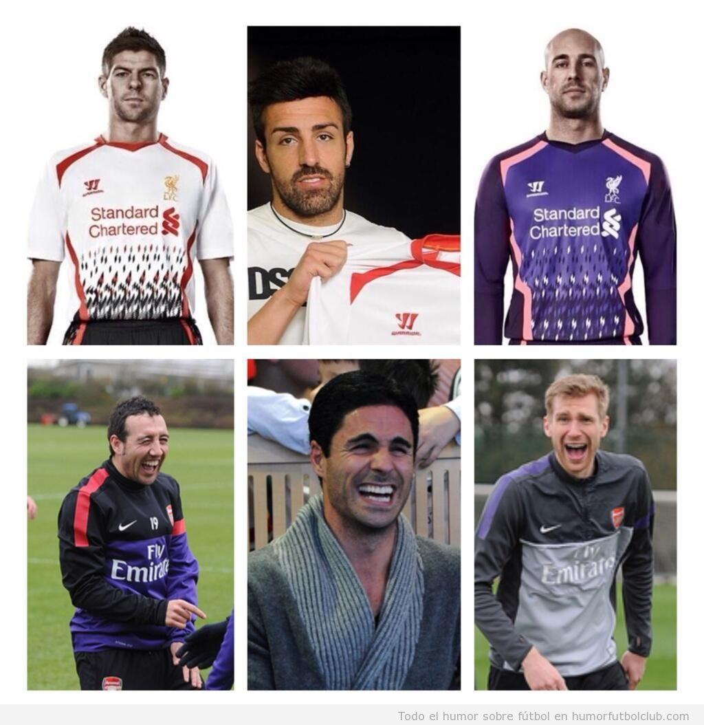 Imagen divertida, jugadores del arsenal se ríen de la camiseta fea del Liverpool