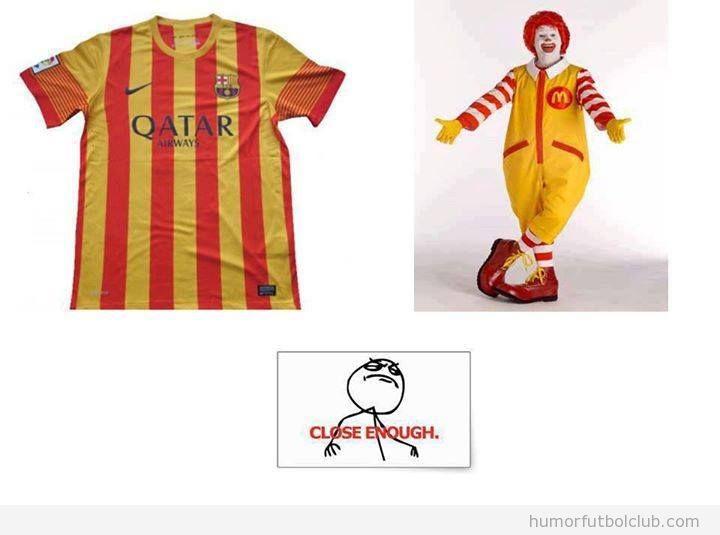 Parecido de la camioseta del Barça con banera catalana y Ronald McDonalds