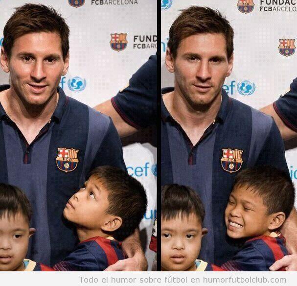 Imagen bonita de un niño feliz porque abraza a Messi