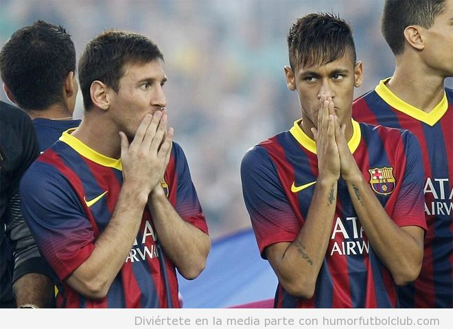 Imagen graciosa de Neymar y Messi con las manos en la boda