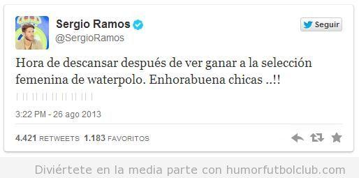 Tweet gracioso de Sergio Ramos sobre waterpolo femenino