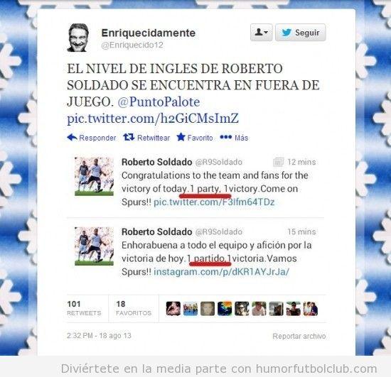 Roberto Soldado comete un error al escribir un tweet en inglés