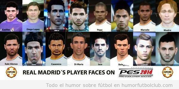 Caras jugadores Real Madrid en el PES 14