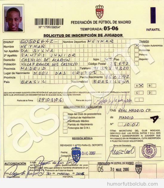 Ficha de Neymar con el Real Madrid a los 16 años