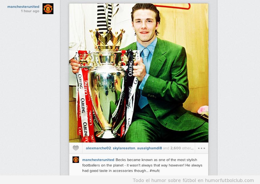 Foto de David Beckham de joven con un traje verde