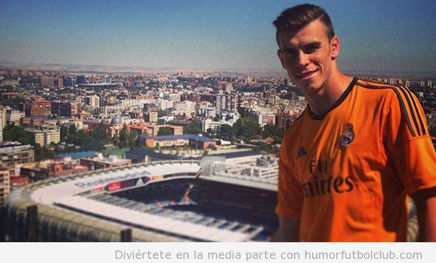 Iamgen de Bale desde su casa con vistas al estadio Bernabeu