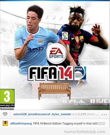 Fotomontaje gracioso, portada del FIFA 14 edición banquillo con Frimpong y Song