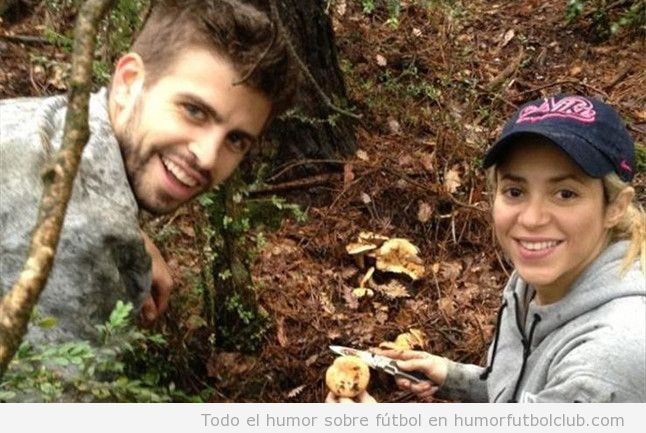 Foto curiosa de Shakira y Piqué cogiendo bolets en el Berguedà
