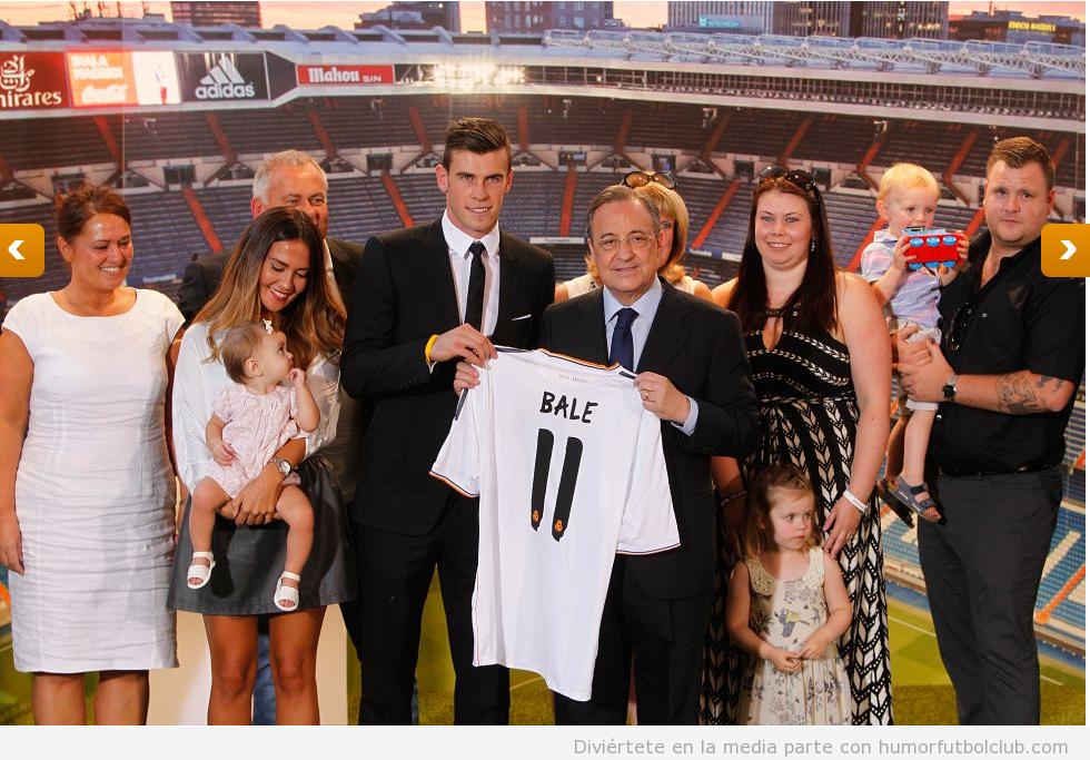 Foto de la presentación Gareth Bale con toda su familia en Madrid